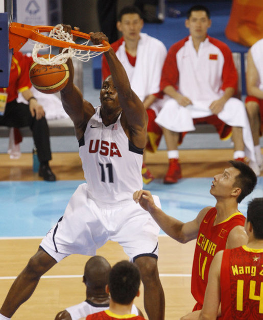 U.S. Olympic Men's Basketball team member Dwight Howard makes a slam dunk Aug. 10, 2008, during action in the Group B men's Olympic basketball game between the U.S. and China, at the 2008 Summer Olympic Games in Beijing. White House photo by Eric Draper