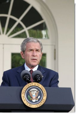 President George W. Bush delivers remarks on the ongoing conflict involving Georgia, Russia, and the Georgian provinces of Abkhazia and South Ossetia.Monday, Aug. 11, 2008, in the Rose Garden of the White House. White House photo by Joyce N. Boghosian