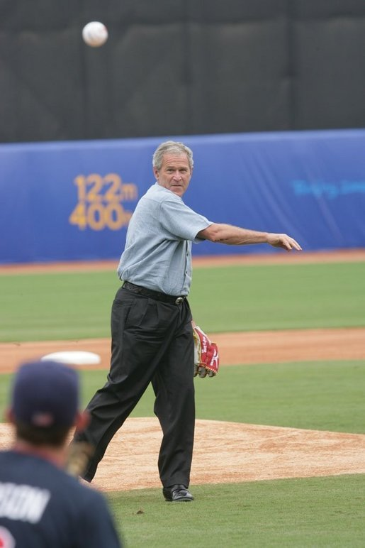 president george w bush throws out the first pitch to the u s
