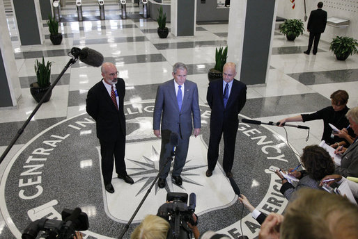 President George W. Bush, joined by Central Intelligence Agency Director Michael Hayden, right, and Deputy CIA Director Stephen Kappes, addresses reporters Thursday, Aug. 14, 2008 at the CIA headquarters in Langley, Va., following President Bush's participation in briefings on the war on terror and the current situation in Georgia. White House photo by Eric Draper