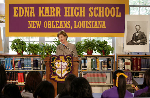 Mrs. Laura Bush addresses students and faculty Thursday, Aug. 14, 2008, at the Edna Karr High School in New Orleans, on the National Endowment for the Humanities' Picturing America initiative. The Picturing America program is a collection of American art offered to schools and public libraries to help educators teach American history and culture through art. White House photo by Shealah Craighead