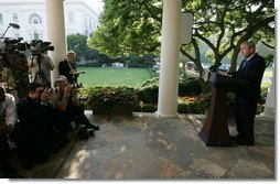 "President George W. Bush delivers a statement in the Rose Garden Friday, Aug. 15, 2008, on the situation in Georgia. Said the President, ""The United States and our allies stand with the people of Georgia and their democratically elected government. Georgia's sovereignty and territorial integrity must be respected. Moscow must honor its commitment to withdraw its invading forces from all Georgian territory."" White House photo by Joyce N. Boghosian"