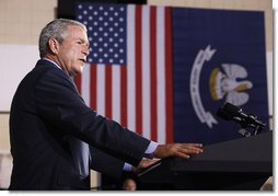 "President George W. Bush addresses his remarks Wednesday, Aug. 20, 2008 at the historic Jackson Barracks in New Orleans, on the recovery of the Gulf Coast region three years after Hurricane Katrina. President Bush said, ""I think the message here today is hope is being restored. Hope is coming back."" White House photo by Eric Draper"