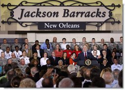 "President George W. Bush gestures as he addresses his remarks Wednesday, Aug. 20, 2008 at the historic Jackson Barracks in New Orleans, on the recovery of the Gulf Coast region three years after Hurricane Katrina. President Bush said, ""I think the message here today is hope is being restored. Hope is coming back."" White House photo by Eric Draper"