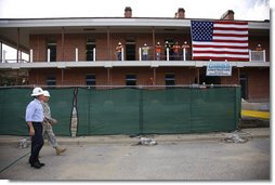President George W. Bush is given a tour Wednesday, Aug. 20, 2008 of the historic Jackson Barracks of New Orleans, headquarters of the Louisiana National Guard. The barracks were seriously damaged in 2005 by Hurricane Katrina. White House photo by Eric Draper