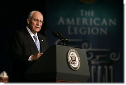 "Vice President Dick Cheney addresses the 90th American Legion Convention Wednesday, Aug. 27, 2008 in Phoenix. ""On my final visit to the American Legion as Vice President, I also want to thank each of you for the unstinting support you are giving to the men and women serving in our military today,"" said the Vice President, later adding, ""We are blessed with the finest military any nation has ever fielded, and may we never take them or their families for granted.""  White House photo by David Bohrer"