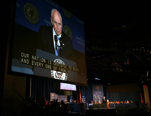 Vice President Dick Cheney is seen on screen as he delivers his remarks to the 90th American Legion Convention Wednesday, Aug. 27, 2008 in Phoenix. White House photo by David Bohrer