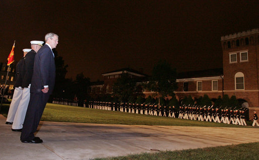 President Bush reviews the Evening Parade at the Marine Barracks Friday, Aug. 29, 2008, in Washington DC. White House photo by Joyce N. Boghosian