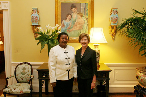 Mrs. Bush meets with Mrs. Kikwete, Spouse of The President of Tanzania, during coffee at the White House Friday, August 29, 2008. White House photo by Shealah Craighead