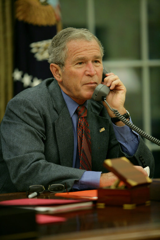 President George W. Bush calls Louisiana Governor Bobby Jindal, Saturday, Aug. 30, 2008, to discuss the impending storms that are expected to strike Louisiana and other areas of the Gulf Coast as a result of Hurricane Gustav. White House photo by Chris Greenberg