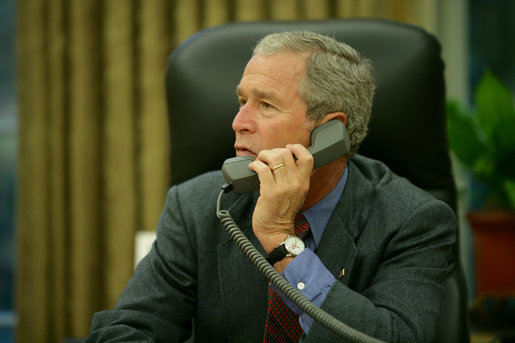 President George W. Bush calls Mississippi Governor Haley Barbour, Saturday, Aug. 30, 2008, to discuss the impending storms that are expected to strike Mississippi and other areas of the Gulf Coast region as a result of Hurricane Gustav. White House photo by Chris Greenberg