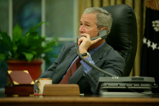 President George W. Bush calls Alabama Governor Bob Riley, Saturday, Aug. 30, 2008, to discuss the impending storms that are expected to strike Alabama and other areas of the Gulf Coast region as a result of Hurricane Gustav. White House photo by Chris Greenberg