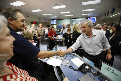 President George W. Bush greets and thanks personnel at the Emergency Operations Center in Austin, Texas, Monday, Sept. 1, 2008, following a briefing update on Hurricane Gustav. White House photo by Eric Draper