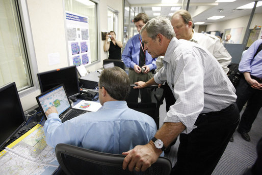 President George W. Bush is shown a computer tracking the latest position of Hurricane Gustav during a briefing Monday, Sept. 1, 2008 at the Texas Emergency Operations Center in Austin, Texas. White House photo by Eric Draper