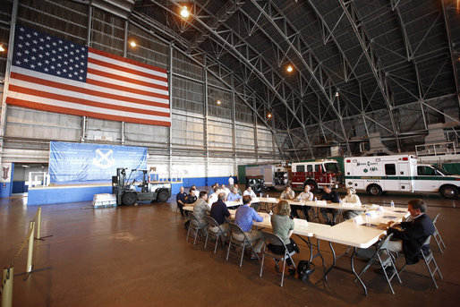 President George W. Bush attends a briefing inside an aircraft hanger Monday, Sept. 1, 2008, at Lackland Air Force Base in San Antonio, Texas, for the latest update on response preparation for Hurricane Gustav. White House photo by Eric Draper