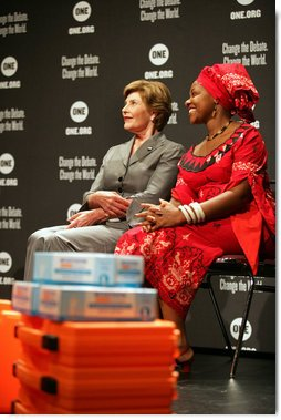 Mrs. Laura Bush sits with HIV and AIDS advocate Princess Kasune Zulu at the ONE campaign event Tuesday, Sept. 2, 2008 at the Minneapolis Convention Center in Minneapolis, during a program in support of health care workers who treat AIDS paitients in African countries.  White House photo by Shealah Craighead