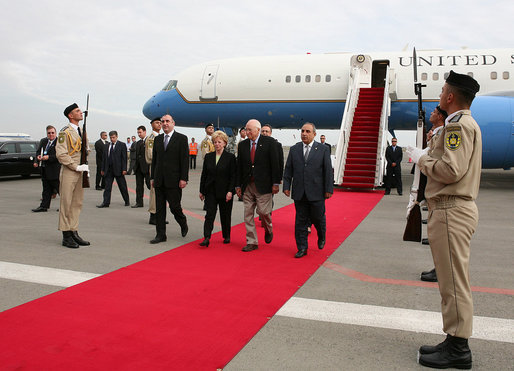 Vice President Dick Cheney and Mrs. Lynne Cheney are escorted by First Deputy Prime Minister of Azerbaijan Mr. Yagub Eyyubov, right, upon their arrival to Heydar Aliyev International Airport Wednesday, Sept. 3, 2008, in Baku, Azerbaijan. The visit to Baku is the first stop on a multi-day trip to the Caucasus region followed by visits to Ukraine and Italy. White House photo by David Bohrer