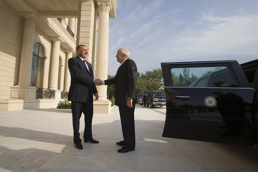 "Vice President Dick Cheney is greeted by President of Azerbaijan Ilham Aliyev for meetings at the Summer Presidential Palace Wednesday, Sept. 3, 2008, in Baku, Azerbaijan. Vice President Cheney thanked the President for his country's contributions in the fight against global terrorism, and said, ""America deeply appreciates Azerbaijan's contributions to the cause of peace and security, both in this volatile region and internationally. And we support the people of Azerbaijan in their efforts, often in the face of great challenges, to strengthen democracy, the rule of law, and respect for human rights, and to build a prosperous, modern, independent country that can serve as a pillar of moderation and stability in this critical part of the world."" White House photo by David Bohrer"