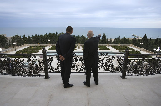 Vice President Dick Cheney and President of Azerbaijan Ilham Aliyev take in a view of the Caspian Sea Wednesday, Sept. 3, 2008, from the balcony of the Summer Presidential Palace in Baku, Azerbaijan. White House photo by David Bohrer