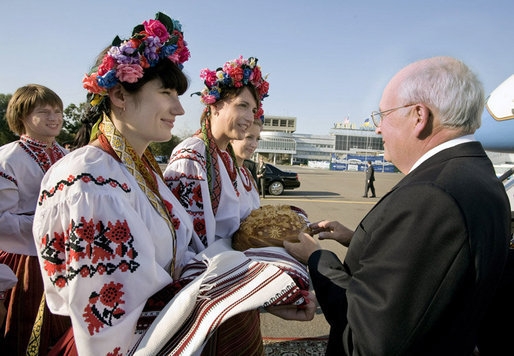 Vice President Dick Cheney is welcomed by Ukrainian youth in traditional dress Thursday, Sept. 4, 2008, in Kiev, the third stop on trip through ex-Soviet republics to reinforce U.S. support for the young democracies following Russian aggression in Georgia. White House photo by David Bohrer