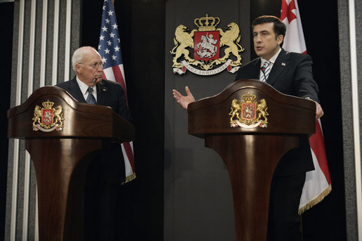 "Vice President Dick Cheney looks on as Georgian President Mikheil Saakashvili delivers a statement Thursday, Sept. 4, 2008, following the leaders' meeting at the presidential office in Tbilisi. ""Together with our partners in Europe, America and elsewhere, we will rebuild Georgia,"" the Georgian leader said in response to recent conflict with Russia, adding, ""the light of freedom can never be extinguished in Georgia; the spirit and will of my nation, the resolve of my government, are stronger than ever before."" White House photo by David Bohrer"
