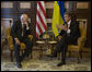 Vice President Dick Cheney meets with President of Ukraine Viktor Yushchenko Friday, Sept. 5, 2008 at the House of Chimeras in Kyiv. On the second day of his visit to Kyiv, the Vice President met with Ukrainian officials to discuss security issues and show U.S. support for the young republic in light of recent Russian aggression in nearby Georgia. White House photo by David Bohrer