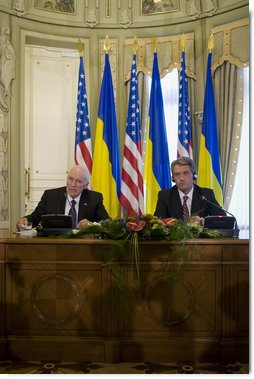 "Vice President Dick Cheney delivers a statement to the press with President of Ukraine Viktor Yushchenko following their meeting Friday, Sept. 5, 2008 in Kiev. ""We have seen the deep courage of Ukrainians in everything they have struggled to accomplish in recent years to consolidate the gains of democracy,"" said the Vice President. ""The work has not been easy. On this journey I am proud to reaffirm America's deep commitment to this remarkable, rising democratic nation that has won the respect of the entire free world."" White House photo by David Bohrer"