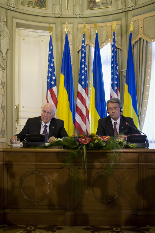 "Vice President Dick Cheney delivers a statement to the press with President of Ukraine Viktor Yushchenko following their meeting Friday, Sept. 5, 2008 in Kyiv. ""We have seen the deep courage of Ukrainians in everything they have struggled to accomplish in recent years to consolidate the gains of democracy,"" said the Vice President. ""The work has not been easy. On this journey I am proud to reaffirm America's deep commitment to this remarkable, rising democratic nation that has won the respect of the entire free world."" White House photo by David Bohrer"