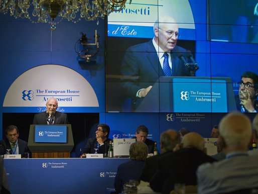 Vice President Dick Cheney addresses the Ambrosetti Conference Saturday, Sept. 6, 2008 at Lago di Como, Italy. In his remarks the Vice President condemned the recent Russian aggression in the Caucasus region and challenged Moscow's forceful manipulation of energy resources in Central Asia. White House photo by David Bohrer