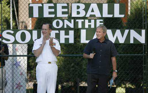 President George W. Bush is joined by Chairman of the Joint Chiefs of Staff, Admiral Michael Mullen, honorary Tee Ball commissioner, as President Bush welcomes the children of active-duty military personnel Sunday, Sept. 7, 2008, who are playing in the Tee Ball on the South Lawn: A Salute to the Troops game. White House photo by Andrew Hreha