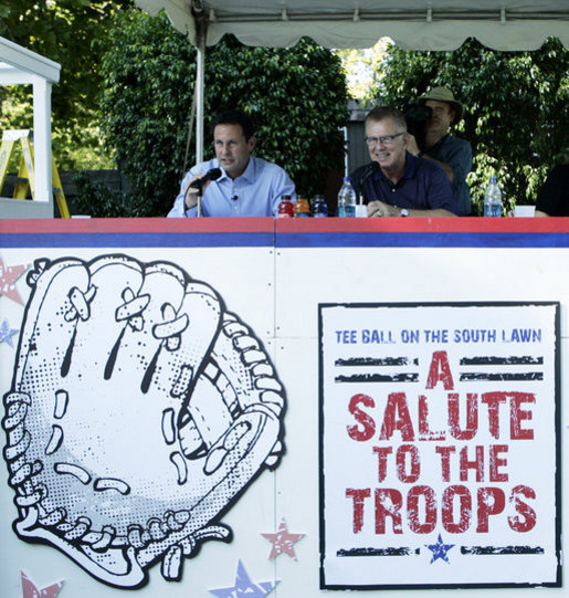Brian Kilmeade, Co-Host, Fox & Friends Fox News Channel, left, and Tim McCarver, Fox-Sports Broadcaster, Former MLB All-Star & World Series Champion, announce the Tee Ball on the South Lawn: A Salute to the Troops game Sunday, Sept. 7, 2008, on the South Lawn of the White House. White House photo by Grant Miller