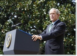 President George W. Bush addresses his remarks honoring volunteerism and the achievements of USA Freedom Corps Monday, Sept. 8, 2008, on the South Lawn of the White House. White House photo by Eric Draper