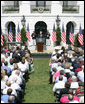 President George W. Bush addresses his remarks to volunteers and invited guests highlighting the achievements of the USA Freedom Corps and honoring volunteerism Monday, Sept. 8, 2008, on the South Lawn of the White House. White House photo by Chris Greenberg