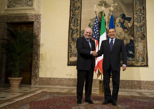 "Vice President Dick Cheney and Prime Minister of Italy Silvio Berlusconi stand together Tuesday, Sept. 9, 2008 before their meeting at the Piazza Colonna in Rome. Said the Vice President after their meeting, ""This great nation is a fine ally of the United States, and millions of Americans are proud to claim Italian heritage. When we think of Italy, we think of your wonderful people, your rich history and culture of the beautiful land you call home."" White House photo by David Bohrer"