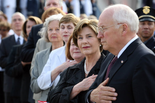 Mrs. Laura Bush stands with Vice President Dick Cheney during the National Anthem Thursday, Sept. 11, 2008, at the dedication ceremony for the 9/11 Pentagon Memorial at the Pentagon in Arlington, Va. White House photo by Joyce N. Boghosian