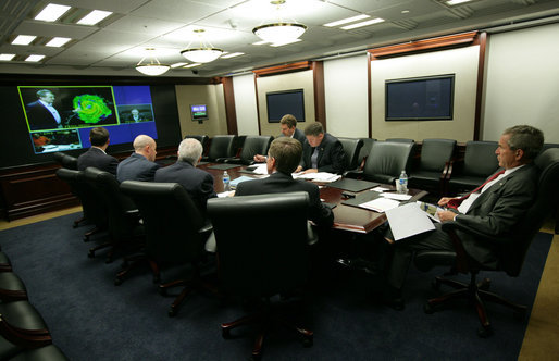 President George W. Bush participates in a video teleconference briefing on Hurricane Ike Saturday, Sept. 13, 2008, with officials from the National Hurricane Center, the Department of Homeland Security and FEMA. The briefing took place in the Situation Room of the White House. White House photo by Chris Greenberg