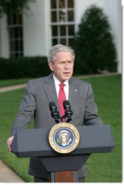 President George W. Bush makes a statement to the press concerning Hurricane Ike Saturday, Sept. 13, 2008, after a video teleconference briefing in the Situation Room with officials from the National Hurricane Center, the Department of Homeland Security and FEMA. White House photo by Chris Greenberg