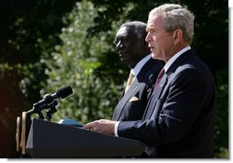 President George W. Bush delivers remarks during a joint statement with President John Agyekum Kufuor of Ghana Monday, Sept. 15, 2008, in the Rose Garden of the White House. White House photo by Chris Greenberg