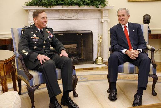 President George W. Bush meets with U.S. Army General David Petraeus, former Commander of the Multi-National Force in Iraq, Wednesday, Sept. 17, 2008, in the Oval Office at the White House. In speaking to reporters President Bush honored and congratulated General Petraeus for his outstanding command leadership in Iraq, and thanked him for agreeing to be the new commander of CENTCOM. White House photo by Eric Draper