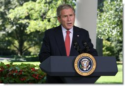 "President George W. Bush delivers a statement on the economy Thursday, Sept. 18, 2008, in the Oval Colonnade of the White House. Said the President, ""Our financial markets continue to deal with serious challenges. As our recent actions demonstrate, my administration is focused on meeting these challenges. The American people can be sure we will continue to act to strengthen and stabilize our financial markets and improve investor confidence."" White House photo by Joyce N. Boghosian"