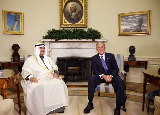 President George W. Bush meets with Kuwait's Prime Minister Sheik Nasser Al-Mohammed Al-Ahmed Al-Jaber Al-Sabah, Friday, Sept. 19, 2008, in the Oval Office of the White House. White House photo by Eric Draper