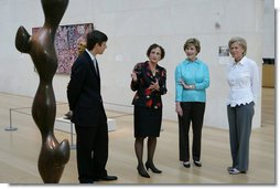 Mrs. Laura Bush is given a tour of the Nasher Sculpture Center by Acting Chief Curator Jed Morse, left, Trustee Nancy Nasher, second from left, and Debbie Francis, right, on Friday, Sept. 19, 2008, in Dallas, Texas. White House photo by Chris Greenberg