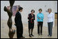 Mrs. Laura Bush is given a tour of the Nasher Sculpture Center by Acting Chief Curator Jed Morse, left, Trustee Nancy Nasher, second from left, and Debbie Francis, right, on Friday, Sept. 19, 2008, in Dallas. White House photo by Chris Greenberg