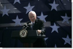 Vice President Dick Cheney speaks to a crowd of over three thousand during the commemoration of 145th anniversary of the Battle of Chickamauga at McLemore's Cove, Georgia. The 1863 battle claimed more than 30,000 lives between the Union and Confederate armies.Cheney's great-grandfather Samuel Fletcher Cheney fought in the 1863 Civil War battle as part of the 21st Ohio Volunteer Infantry. White House photo by David Bohrer