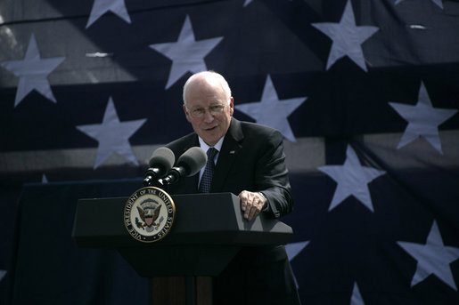 Vice President Dick Cheney speaks to a crowd of over three thousand during the commemoration of 145th anniversary of the Battle of Chickamauga at McLemore's Cove, Georgia. The 1863 battle claimed more than 30,000 lives between the Union and Confederate armies. Cheney's great-grandfather Samuel Fletcher Cheney fought in the 1863 Civil War battle as part of the 21st Ohio Volunteer Infantry. White House photo by David Bohrer