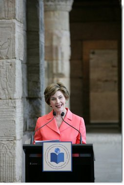 Mrs. Laura Bush opens the luncheon following the White House Symposium on Global Literacy: Building a Foundation for Freedom at the Metropolitan Museum of Art's Temple of Dendur in New York City. Mrs. Bush noted that in the morning session the group learned the outcomes of UNESCO's six regional literacy conferences from around the world. White House photo by Chris Greenberg.