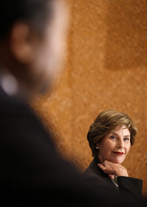 Mrs. Laura Bush participates in a drop-by meeting on food security Tuesday, Sept. 23, 2008, in New York. White House photo by Eric Draper