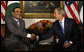 "President George W. Bush shakes hands with President Asif Ali Zardari of Pakistan during their meeting Tuesday, Sept. 23, 2008, at The Waldorf-Astoria Hotel in New York. Said President Bush, ""Pakistan is an ally, and I look forward to deepening our relationship. Your words have been very strong about Pakistan's sovereign right and sovereign duty to protect your country, and the United States wants to help."" White House photo by Eric Draper"