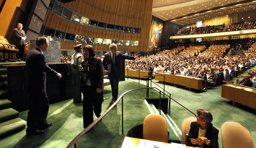 "President George W. Bush acknowledges the audience after delivering remarks Tuesday, Sept. 23, 2008, to the United Nations General Assembly in New York. In his last address as President of the United States, President Bush said, ""The United Nations is an organization of extraordinary potential. As the United Nations rebuilds its headquarters, it must also open the door to a new age of transparency, accountability, and seriousness of purpose. With determination and clear purpose, the United Nations can be a powerful force for good as we head into the 21st Century."" White House photo by Eric Draper"