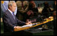 President George W. Bush delivers remarks to the United Nations General Assembly Tuesday, Sept. 23, 2008, in New York. In his eighth and final speech before the assembly, the President highlighted how the United States has partnered closely with other nations to address global challenges an urged the U.N. and other multilateral organizations to continue to actively confront terror. White House photo by Chris Greenberg